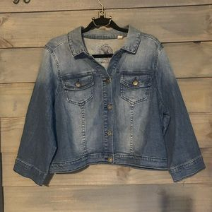 One world cropped denim jacket jean size XL